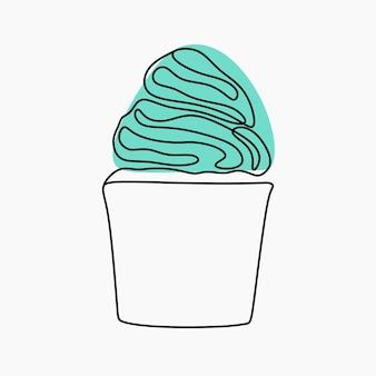 Cup cake arte em linha contínua on-line
