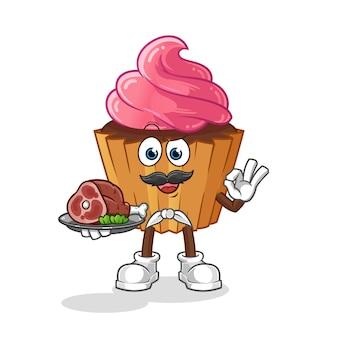 Cup cake chef com mascote de carne