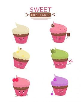 Cup cake ícone animação cartoon personagem mascote adesivo colorido doce jardim de infância feminino crianças Vetor Premium