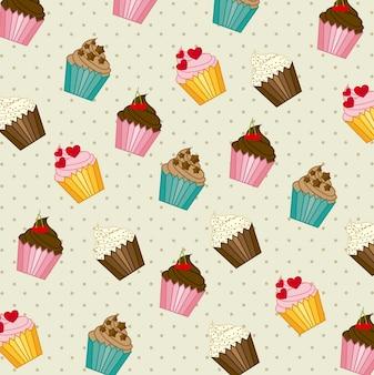 Cup cakes padrão ilustração em vetor estilo vintage