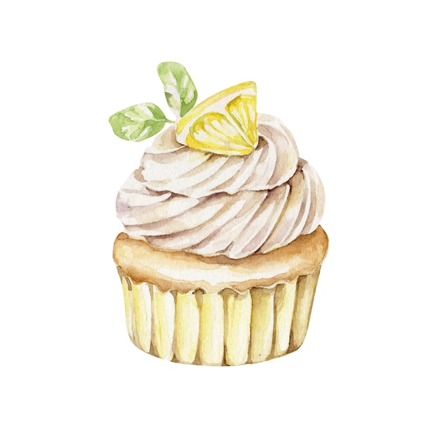 Cupcake aquarela com limão