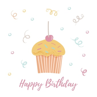 Cupcake, cartão de feliz aniversário.
