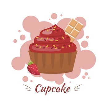 Cupcake com creme, chocolate e berry