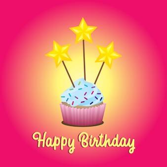 Cupcake de aniversário colorido com estrelas