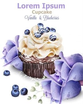 Cupcake de baunilha e mirtilo