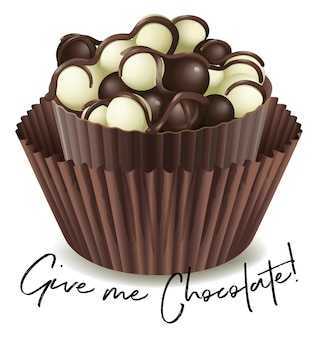 Cupcake de chocolate com a frase dê-me chocolate