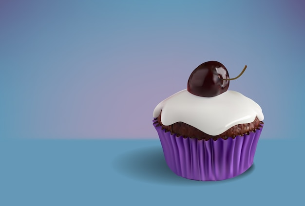 Cupcake de chocolate com glaze de cereja de coco