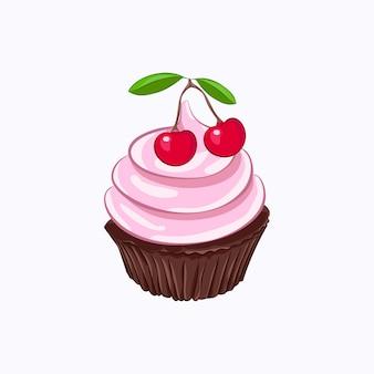 Cupcake de chocolate estilo desenho animado com chantilly rosa e ícone de vetor de cereja isolado no fundo branco