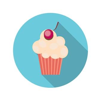 Cupcake de conceito de design plano com ilustração vetorial de cerejas com sombra longa. eps10