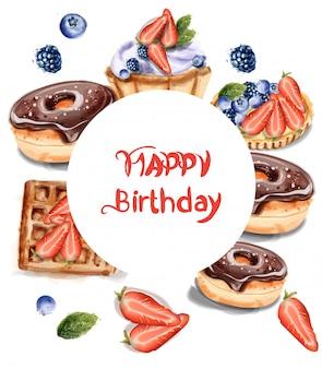 Cupcake de donuts de aniversário em aquarela