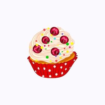 Cupcake de estilo cartoon com chantilly e frutas vermelhas no suporte de papel vermelho isolado no branco