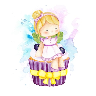 Cupcake de fada em aquarela