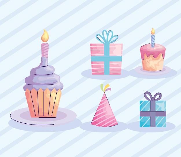 Cupcake de feliz aniversário com conjunto de ícones estilo acuarela ilustração design