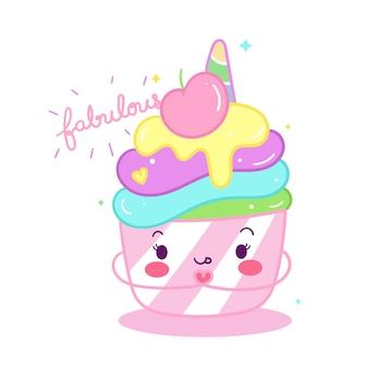 Cupcake de unicórnio fofinho doodle dos desenhos animados