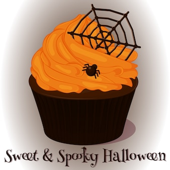 Cupcake doce e assustador com teia de chocolate