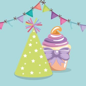 Cupcake doce e delicioso com cartão de aniversário de chapéu de festa