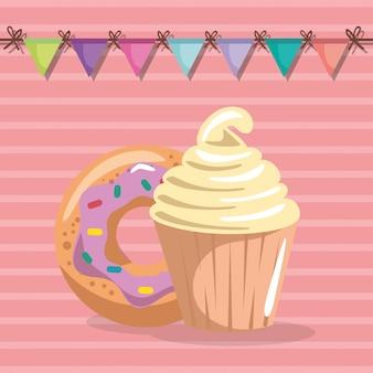 Cupcake doce e delicioso com cartão de aniversário de donut