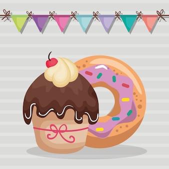 Cupcake doce e delicioso com cartão de aniversário de filhós