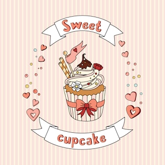 Cupcake doce vector em fundo delicado