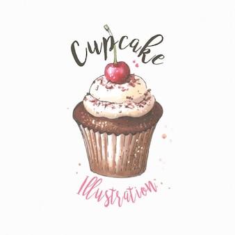 Cupcake ilustração desenhada mão do vetor doce da sobremesa com cereja