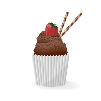 Cupcake, muffin em um branco isolado