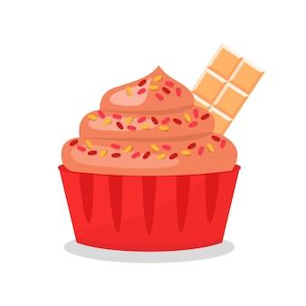 Cupcake saboroso com ilustração vetorial de chocolate