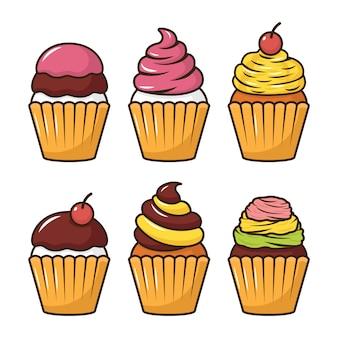 Cupcake vector conjunto ilustração