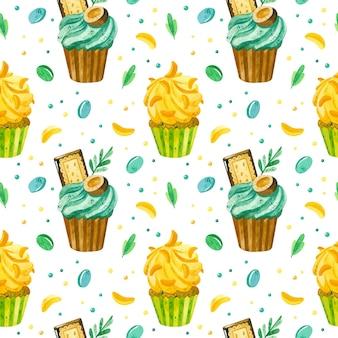 Cupcakes and marmelade padrão sem emenda em aquarela fundo de aniversário