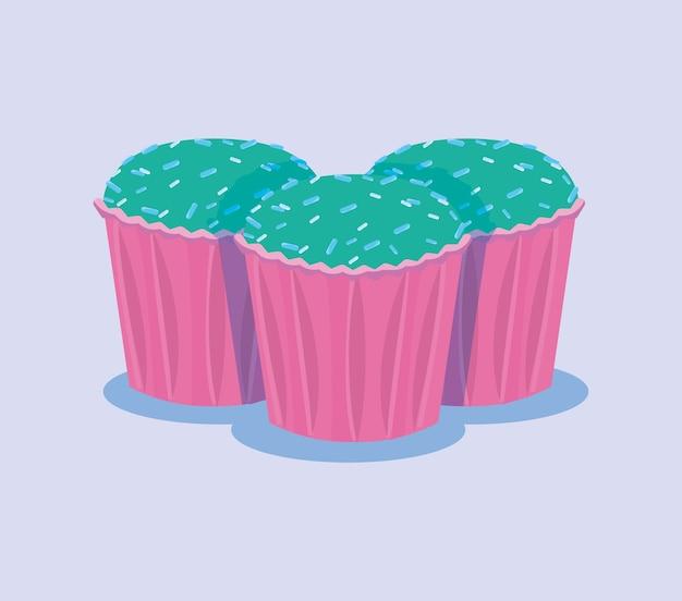 Cupcakes de aniversário doce ilustração em vetor de sobremesa