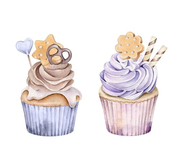 Cupcakes de aquarela