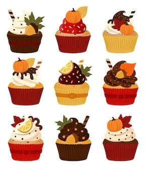 Cupcakes de outono, com abóbora e nozes, comida de sobremesa