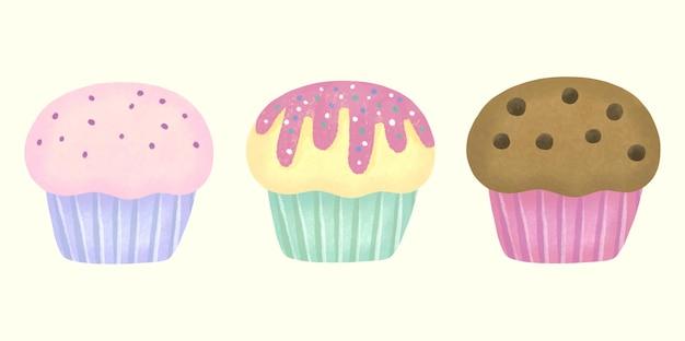 Cupcakes doces de aquarela com 3 sabores de morango, baunilha e chocolate