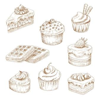 Cupcakes e muffin, bolos de chocolate e sobremesa de frutas, bolo em forma de coração e waffles belgas, com cobertura de chantilly, cobertura de creme, granulado, tubos de wafer e gotas de chocolate. esboços