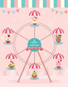 Cupcakes natal ferris roda rosa