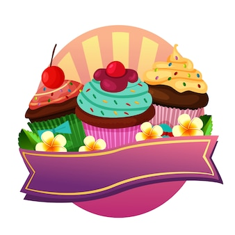 Cupcakes rótulo bonito colorido