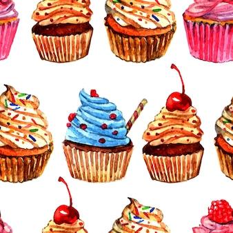 Cupcakes seamless pattern design