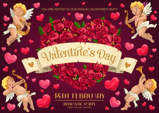 Cupds e coração de flor rosa. festa de dia dos namorados