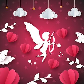 Cupido, anjo, coração - ilustração de papel. nuvem, estrela, folha.