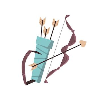 Cupido armas conjunto arco e flechas com coração dia dos namorados conceito de celebração cartão de saudação banner convite cartaz ilustração