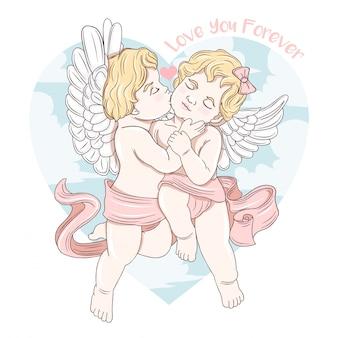 Cupido beijo amor para sempre