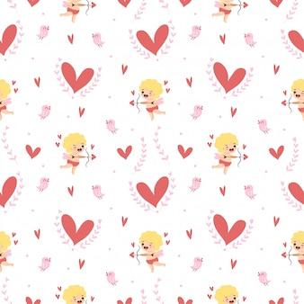 Cupido bonito com corações e um passarinho sem costura padrão para dia dos namorados
