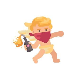 Cupido bonito na bandana vermelha jogando um coquetel molotov