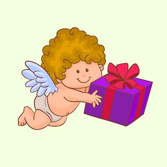 Cupido com caixa de presente