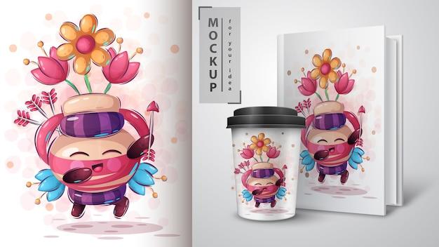 Cupido com cartaz de flechas e merchandising