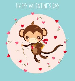 Cupido de macaco no dia dos namorados cartão