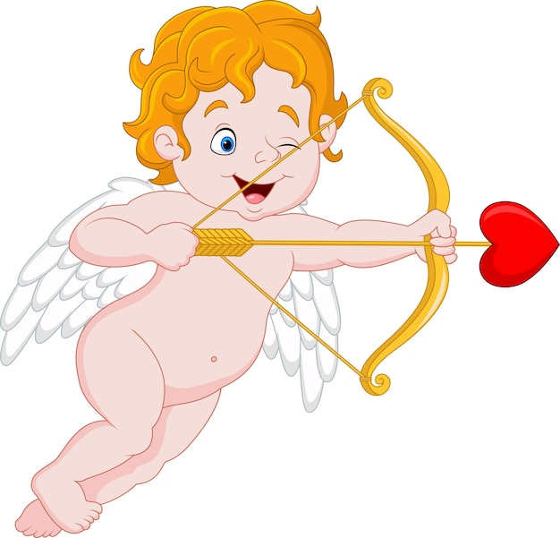 Cupido engraçado que visa alguém