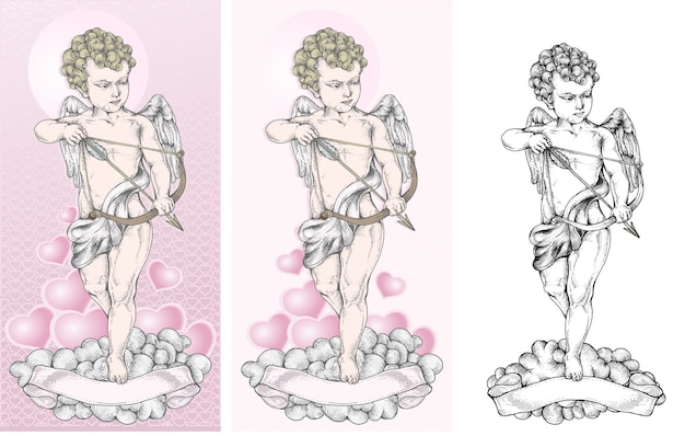 Cupido está apontando para o alvo com um arco
