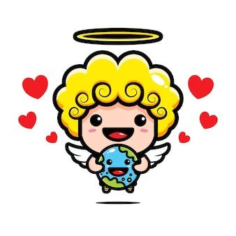 Cupido fofo abraçando a terra cheio de amor