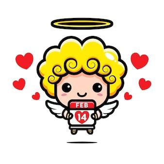 Cupido fofo abraçando o calendário dos namorados