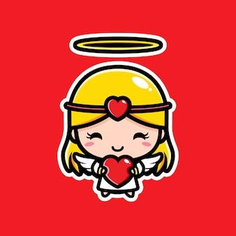 Cupido fofo abraçando um coração de amor